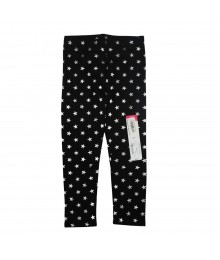 Okie Dokie Black Leggings Wt Silver Star Print Little Girl