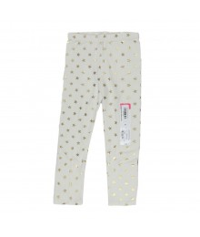 Okie Dokie Cream Leggings Wt Gold Star Print Little Girl