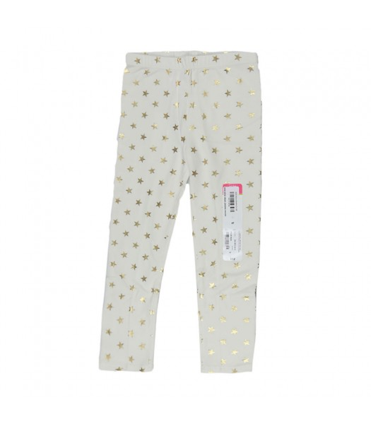 Okie Dokie Cream Leggings Wt Gold Star Print