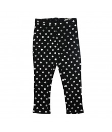 Faded Glory Black Legging wih Silver Dots Print Little Girl