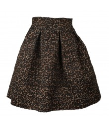 Free Style Tiered Elastic Skater Leopard Skirt