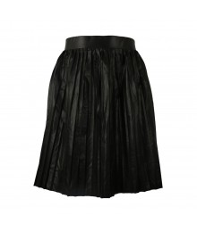 Jennifer Lopez Black Pleated Faux-Leather Skirt