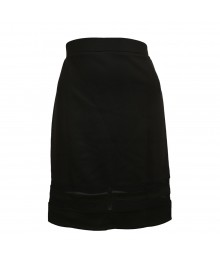 Olsenboye Black Pencil Skirt Wt Mesh-Inset Juniors