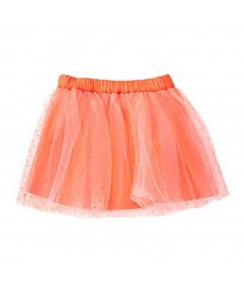 Crazy8 Neon Orange Tulle Skirt Wt Gliter Lace Overlay Baby Girl