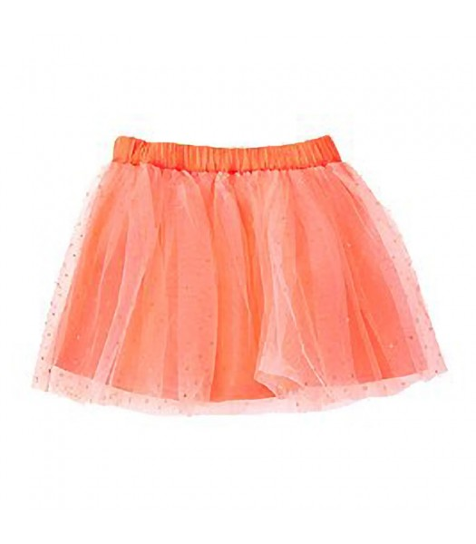 Crazy8 Neon Orange Tulle Skirt Wt Gliter Lace Overlay