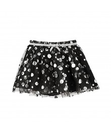 Crazy8  Black Tulle Skirt Wt Silver Polka Dot Lace Overlay