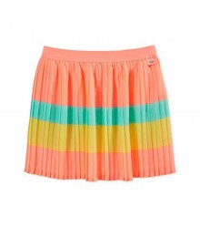 Tommy Hilfiger Orange Neon Pleated Skirt Yellowmint Color Block