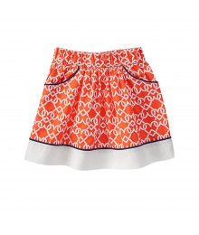 Gymboree Orange Skirt Wt Heart Chain Print Little Girl