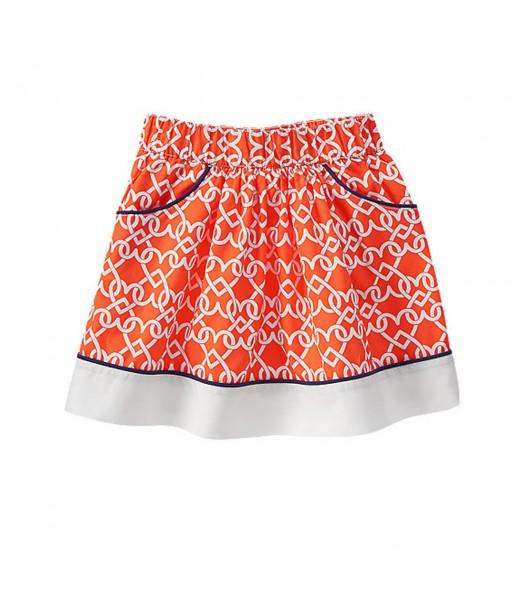 Gymboree Orange Skirt Wt Heart Chain Print Little Girl
