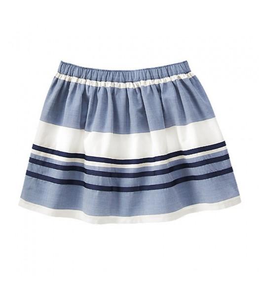 Gymboree Blue/White Navy Ribbon Stripped Skirt  Little Girl