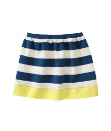 Gymboree Navy/White/Yellow Bar Stripped Skirt
