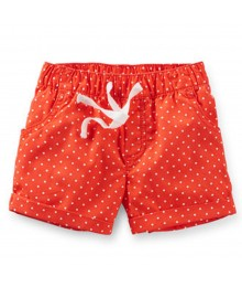 Carters Orange Dotted Pull-On Shorts