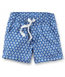 Carters Blue Wt White Floral Print Pull-On Shorts Little Girl