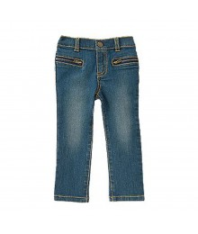 Crazy 8 Blue Denim Zipper Pocket Skinny Jeans Baby Girl