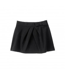 Crazy 8 Black Ponte Skirt With Bow N Pleat Little Girl