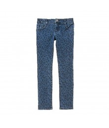 Crazy 8 Blue Denim Cheetah Print Skinny Jeans Little Girl