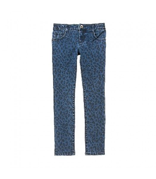 Crazy 8 Blue Denim Cheetah Print Skinny Jeans