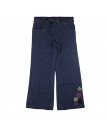 Crazy 8 Flower Emb Chambray Flared Pants