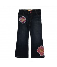 Old Navy Floral Applique Flared Girls Jeans