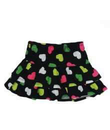 Crazy8 Black Multi Heart Print Tiered Skort Little Girl