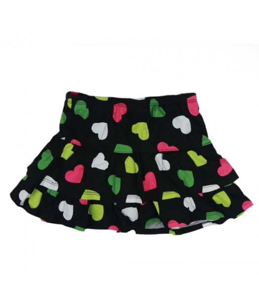 Crazy8 Black Multi Heart Print Tiered Skort