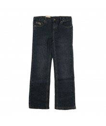 Arizona Dark Straight Leg Girls Jeans With Gold Star