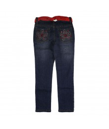 Squeeze Flower Embellished Pocket Girls Jeans