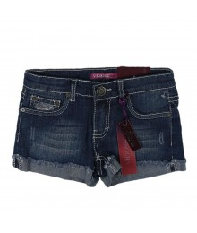 Vigoss Denim Bum Shorts Wt Brown Embr N Star Studs