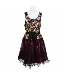 Bonnie Jean Fushcia Shimmer Low Bodice Wt Champagne Sequin Floral