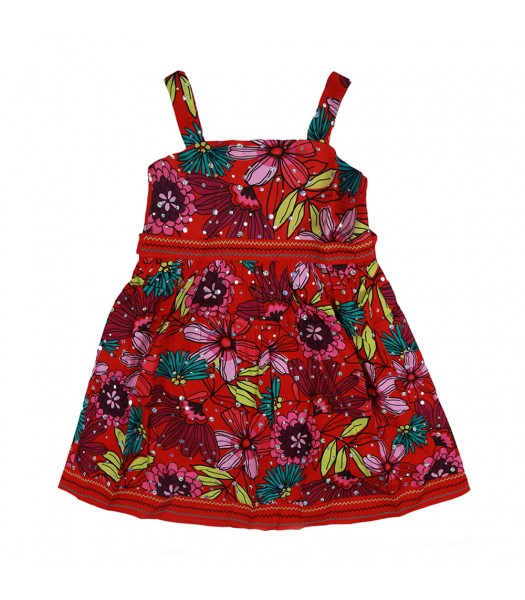 Youngland Multicolored Floral Print Dress Little Girl