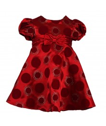 Rare Too Red Satin Dres With Circle Velvet Baby Girl