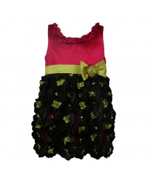 Bonnie Jean Fush Pink Satin Dress Wt Lemon Belat And Black Rosette Soutache