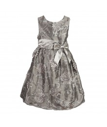 Rare Too Silver Floral Sequined Dress  Little Girl