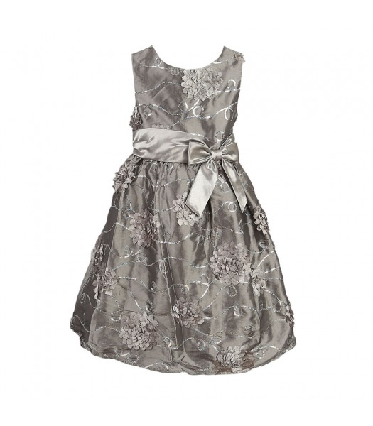 Rare Too Silver Floral Sequined Dress