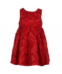 Rare Editions Red Floral Sequined Dress With Pants