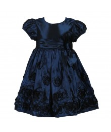 Bonnie Jean Blue Rosette Taffeta Dress Wt Bow @ Waist Little Girl