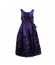 Bonnie Jean Purple Rosette Taffeta Dress Wt Bow @ Waist