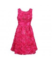 Rare Editions Fuschia Soutache Seqd Dress