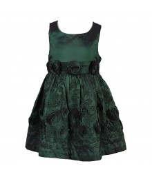 Bonnie Jean Green Taffeta Dress With Rosette N Emb Little Girl