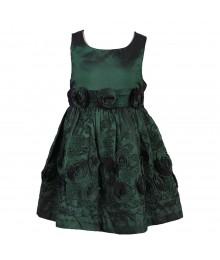 Bonnie Jean Green Taffeta Dress With Rosette N Emb