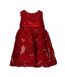 Rare Editions Red Sequine Flower Soutache Rich Dress