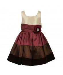 Bonnie Jean Color Block Dress- Cream/Brown
