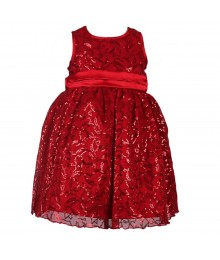 Blueberi Red All Over Seq Dress