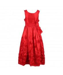 Bonnie Jean Red Rosette Taffeta Dress Wt Bow @ Waist