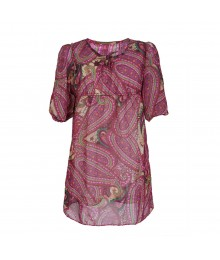 Rare Editions Pink/Brown Paisley Chiffon Dress Big Girl