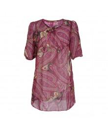 Rare Editions Pink/Brown Paisley Chiffon Dress