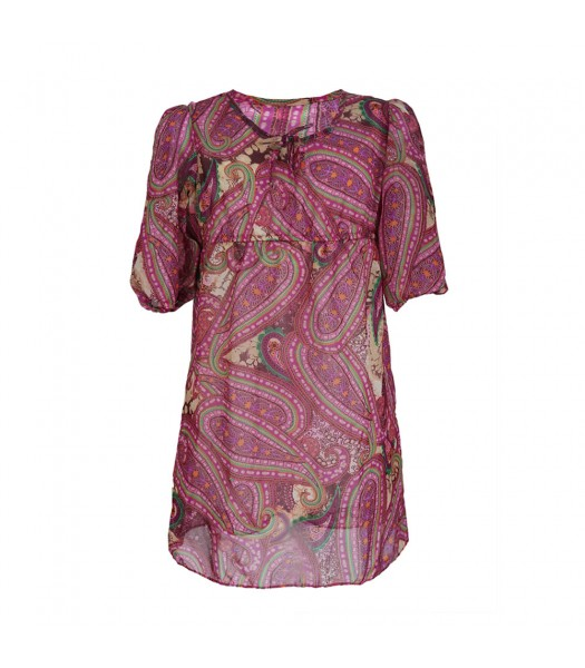Rare Editions Pink/Brown Paisley Chiffon Dress