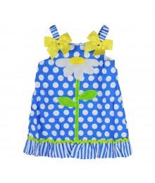 Youngland Blue Polka Dot Flower Sun Dress