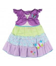 Youngland Purple Mock-Layer Butterfly Seersucker Dress