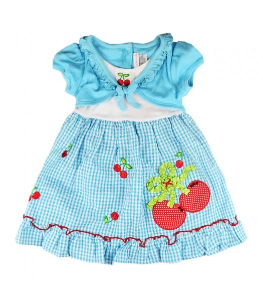 Youngland Turq Mock-Layer Cherry Seersucker Dress